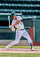 3 September 2018: Vermont Lake Monsters first baseman Aaron Arruda in action against the Tri-City ValleyCats at Centennial Field in Burlington, Vermont. The Lake Monsters defeated the ValleyCats 9-6 in the last game of the 2018 NY Penn League regular season. Mandatory Credit: Ed Wolfstein Photo *** RAW (NEF) Image File Available ***