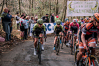 Grace Brown (AUS/Mitchelton-Scott) & Amanda Spratt (AUS/Mitchelton-Scott) climbing the Baneberg for the first time,<br /> <br /> 8th Gent-Wevelgem In Flanders Fields 2019 <br /> Elite Womens Race (1.WWT)<br /> <br /> One day race from Ypres (Ieper) to Wevelgem (137km)<br /> ©JojoHarper for Kramon