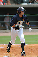 Charleston Riverdogs third baseman Dante Bichette Jr. #19 at bat during a game against the Greenville Drive at Joseph P. Riley Jr. Park on July 17, 2012 in Charleston, South Carolina. Charleston defeated Greenville by the score of 5-0. (Robert Gurganus/Four Seam Images)