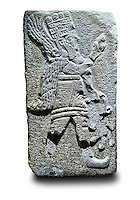 Picture & image of a Neo-Hittite orthostat with a releif sculpture of A Winged God from Aslantepe ,  Malatya, Turkey. Ancora Archaeological Museum.  The God holds a branch of fruit in his left hand and a single fruit in the right hand.