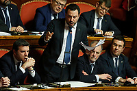 Matteo Salvini during his speech surrounded by his senators<br /> Rome February 12th 2020. Senate vote to allow  the Court to judge former Minister of Internal Affairs Matteo Salvini for the 'Gregoretti' ship matters. On February 20th 2019 a ship, carrying 131 migrants (among them many minors) docked in the harbour of Catania but Minister Salvini took the decision to block migrants of Gregoretti ship at sea. For that reason the magistracy accused the minister of kidnapping.<br /> Foto Samantha Zucchi Insidefoto