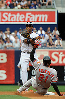 New York Yankees second baseman Robinson Cano #24 during a game against the Baltimore Orioles at Yankee Stadium on September 5, 2011 in Bronx, NY.  Yankees defeated Orioles 11-10.  Tomasso DeRosa/Four Seam Images