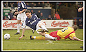 26/04/2003                   Copyright Pic : James Stewart.File Name : stewart-falkirk v ayr 01.STUART TAYLOR IS CAUGHT LATE BY MARC SMITH......James Stewart Photo Agency, 19 Carronlea Drive, Falkirk. FK2 8DN      Vat Reg No. 607 6932 25.Office     : +44 (0)1324 570906     .Mobile  : +44 (0)7721 416997.Fax         :  +44 (0)1324 570906.E-mail  :  jim@jspa.co.uk.If you require further information then contact Jim Stewart on any of the numbers above.........