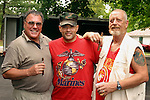 WATERBURY, CT -08 August 2004 - 080104TH05 - Silver City Detachment of the Marine Corps League members Ron Perry of Meriden, Ed Gonzalez of Meriden, and Bill Hesse of Meriden, pose during the combined annual Brass City Memorial Detachment of the Marine Corps League picnic and the American Italian Civic Club picnic held at the club on Boyden Street in Waterbury on Sunday.   Todd Hougas photo.