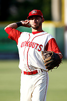 Chattanooga Lookouts second baseman Alex Perez (2) warming up prior to the game against the Pensacola Blue Wahoos on July 27, 2018 at AT&T Field in Chattanooga, Tennessee. (Andy Mitchell/Four Seam Images)