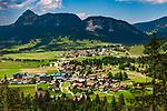 Oesterreich, Tirol, Tannheimer Tal: Blick ueber die Ortschaften Haldensee und Graen bis zum Rappenschrofen   Austria, Tyrol, Tannheim Valley: view across villages Haldensee and Graen towards summit Rappenschrofen