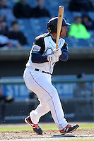 Syracuse Chiefs outfielder Xavier Paul #15 during a game against the Rochester Red Wings at Alliance Bank Stadium on April 6, 2012 in Syracuse, New York.  Rochester defeated Syracuse 3-1.  (Mike Janes/Four Seam Images)