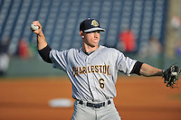 Center fielder Jeff Hendrix (6) of the Charleston RiverDogs warms up before a game against the Greenville Drive on Tuesday May 17, 2016, at Fluor Field at the West End in Greenville, South Carolina. Greenville won, 4-2. (Tom Priddy/Four Seam Images)