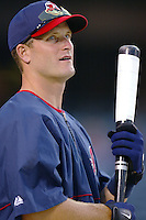 Russell Branyan of the Cleveland Indians before a 2002 MLB season game against the Los Angeles Angels at Angel Stadium, in Los Angeles, California. (Larry Goren/Four Seam Images)
