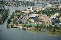 Aerial of Husky Stadium, SE campus at University of Washington Seattle