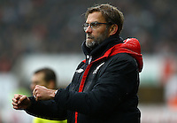 Liverpool manager Jurgen Klopp celebrates his sides goal during the Barclays Premier League match between Swansea City and Liverpool played at the Liberty Stadium, Swansea on 1st May 2016
