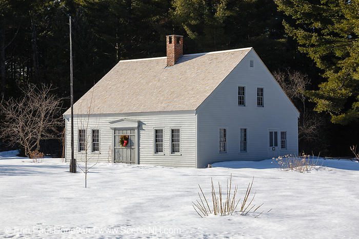 The Russell-Colbath homestead along the Kancamagus Highway in Albany, New Hampshire. Located in the White Mountain National Forest, this historic homestead was built in the early 1830s, likely around 1832. When the Swift River Railroad (1906-1916) moved into the area, the Passaconaway settlement became the center of logging operations, and the railroad took over most of the settlement. It is the only original structure remaining from the Passaconaway settlement.