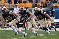Members of the PItt kickoff team ready the kickoff. Shown are George Aston (35), Kyle Nunn (47) and Jim Medure (81). The Pitt Panthers football team defeated the Albany Great Danes 33-7 on September 01, 2018 at Heinz Field, Pittsburgh, Pennsylvania.