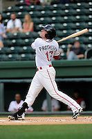 Designated hitter Jordan Procyshen (17) of the Greenville Drive bats in a game against the Lexington Legends on Tuesday, April 14, 2015, at Fluor Field at the West End in Greenville, South Carolina. Lexington won, 5-3. (Tom Priddy/Four Seam Images)