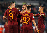 Calcio, Serie A: Roma vs Palermo. Roma, stadio Olimpico, 23 ottobre 2016.<br /> Roma's Edin Dzeko, left, celebrates with teammates, from right, Leandro Paredes, Stephan El Shaarawy and Daniele De Rossi, after scoring during the Italian Serie A football match between Roma and Palermo at Rome's Olympic stadium, 23 October 2016. Roma won 4-1.<br /> UPDATE IMAGES PRESS/Riccardo De Luca