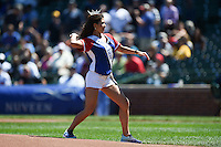 Miss Illinois Marisa Buchheit throws out a ceremonial first pitch before a Chicago Cubs game against the Milwaukee Brewers on August 14, 2014 at Wrigley Field in Chicago, Illinois.  Milwaukee defeated Chicago 6-2.  (Mike Janes/Four Seam Images)