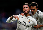 Sergio Ramos of Real Madrid celebrates scoring his goal with teammate Sergio Reguilon Rodriguez during the La Liga 2018-19 match between Real Madrid and Real Valladolid at Estadio Santiago Bernabeu on November 03 2018 in Madrid, Spain. Photo by Diego Souto / Power Sport Images