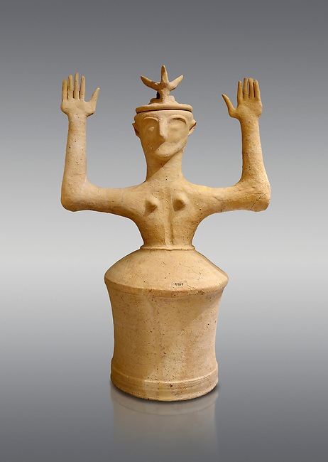 Minoan Postpalatial terracotta  goddess statue with raised arms and horn crown,  Karphi Sanctuary 1200-1100 BC, Heraklion Archaeological Museum, grey background. <br /> <br /> The Goddesses are crowned with symbols of earth and sky in the shapes of snakes and birds, describing attributes of the goddess as protector of nature.