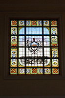 Cuba, Cienfuegos.  Stained Glass Window in the Antiguo Ayuntamiento, home of the provincial governmental assembly.