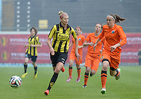20150514 - BEVEREN , BELGIUM : Lierse's Justine Vanhaevermaet (left)  pictured with Brugge's Tine De Caigny (r)  during the final of Belgian cup, a soccer women game between SK Lierse Dames and Club Brugge Vrouwen , in stadion Freethiel Beveren , Thursday 14 th May 2015 . PHOTO DAVID CATRY