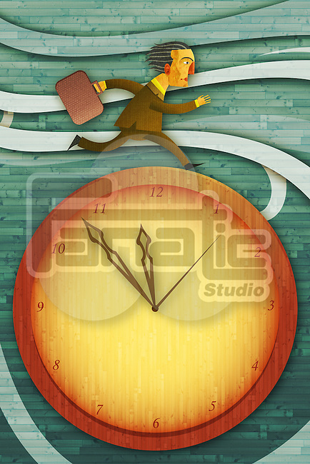 Illustrative image of businessman running on clock representing deadline