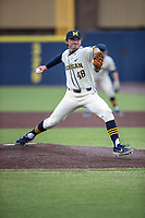 Michigan Wolverines pitcher Jack Weisenburger (48) delivers a pitch to the plate against the Indiana State Sycamores on April 10, 2019 in the NCAA baseball game at Ray Fisher Stadium in Ann Arbor, Michigan. Michigan defeated Indiana State 6-4. (Andrew Woolley/Four Seam Images)