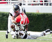 The Georgia Bulldogs beat the App State Mountaineers 45-6 in their homecoming game.  After a close first half, UGA scored 31 unanswered points in the second half.  Georgia Bulldogs wide receiver Reggie Davis (81) has the pass knocked away by Appalachian State Mountaineers linebacker Patrick Blalock (34) and Appalachian State Mountaineers defensive back Dante Blackmon (24)