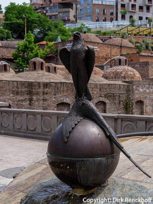 Brunnen im Bäderviertel Abanotubani, Tiflis – Tbilissi, Georgien, Europa<br /> fountain,  thermal quarter Abanotuban, Tbilisi, Georgia, Europe