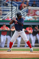 Lowell Spinners Gilberto Jimenez (32) at bat during a NY-Penn League game against the Batavia Muckdogs on July 11, 2019 at Dwyer Stadium in Batavia, New York.  Batavia defeated Lowell 5-2.  (Mike Janes/Four Seam Images)