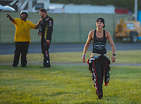Sep 2, 2018; Clermont, IN, USA; NHRA top fuel driver Leah Pritchett with husband, top alcohol funny car driver Gary Pritchett during the US Nationals at Lucas Oil Raceway. Mandatory Credit: Mark J. Rebilas-USA TODAY Sports
