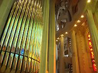 Colorful interior with organ of La Sagrada Familia