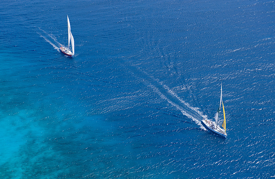 Maxi yachts 'Athina' and 'Martella' off the south coast, Barbados