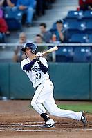 Jack Reinheimer #33 of the Everett AquaSox bats against the Tri-City Dust Devils at Everett Memorial Stadium on July 23, 2013 in Everett, Washington. Everett defeated Tri-City, 3-2. (Larry Goren/Four Seam Images)