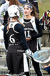 Frankfurt am Main, Germany, March 14: During the Damen 1. Bundesliga West Lacrosse match between SC 1880 Frankfurt and Duesseldorfer Hirschkuehe on March 14, 2015 at the SC 1880 Frankfurt in Frankfurt am Main, Germany. Final score 20-13 (13-8). (Photo by Dirk Markgraf / www.265-images.com) *** Local caption *** Hannah Laxy #6 of Duesseldorfer Hirschkuehe, Jacquline Mancher #11 of Duesseldorfer Hirschkuehe