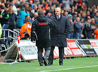 FAO SPORTS PICTURE DESK<br /> Pictured L-R: Brendan Rodgers manager for Swansea greeting Steve Kean manager for Blackburn Rovers after the game. Saturday, 14 April 2012<br /> Re: Premier League football, Swansea City FC v Blackburn Rovers at the Liberty Stadium, south Wales.