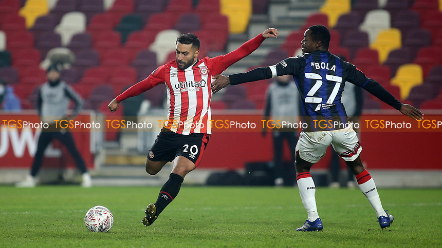 Saman Ghoddos scores Brentford's second goal with a fine right foot shot during Brentford vs Middlesbrough, Emirates FA Cup Football at the Brentford Community Stadium on 9th January 2021
