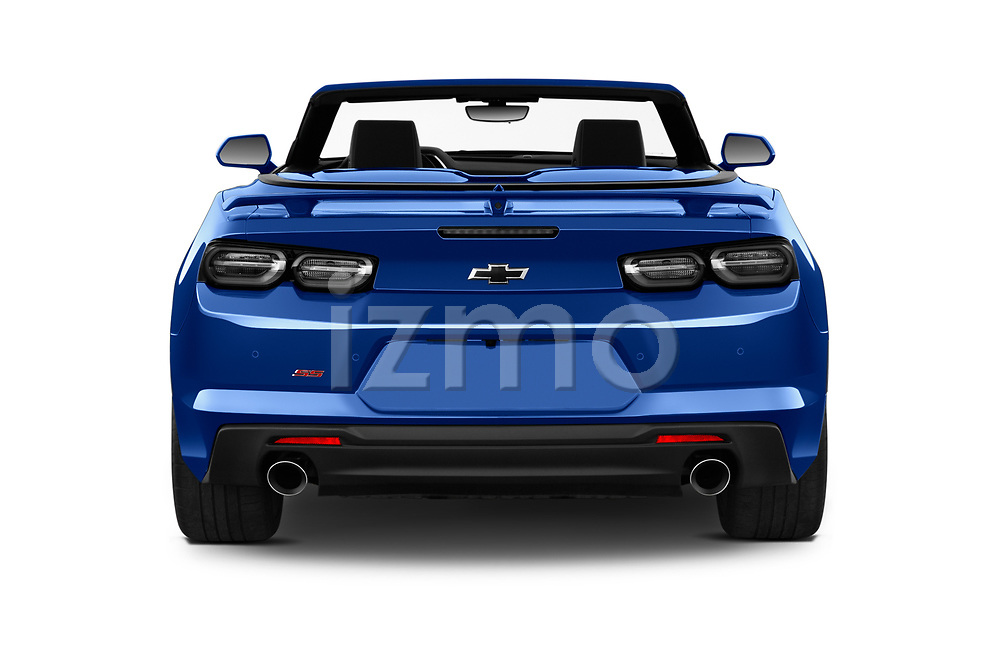 Straight rear view of 2020 Chevrolet Camaro 1SS 2 Door Convertible Rear View  stock images