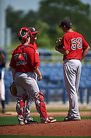 GCL Red Sox pitching coach Dick Such (49) talks with pitcher Pat Goetze (53) and catcher Andrew Noviello (59) during the first game of a doubleheader against the GCL Rays on August 4, 2015 at Charlotte Sports Park in Port Charlotte, Florida.  GCL Red Sox defeated the GCL Rays 10-2.  (Mike Janes/Four Seam Images)