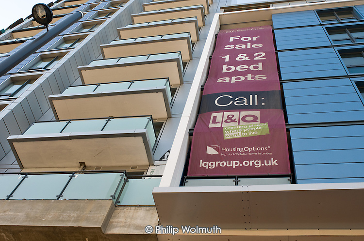'Affordable' housing development of flats for sale by L&Q (London & Quadrant Housing Group) overlooking the site of the London 2012 Olympic Games in Stratford.