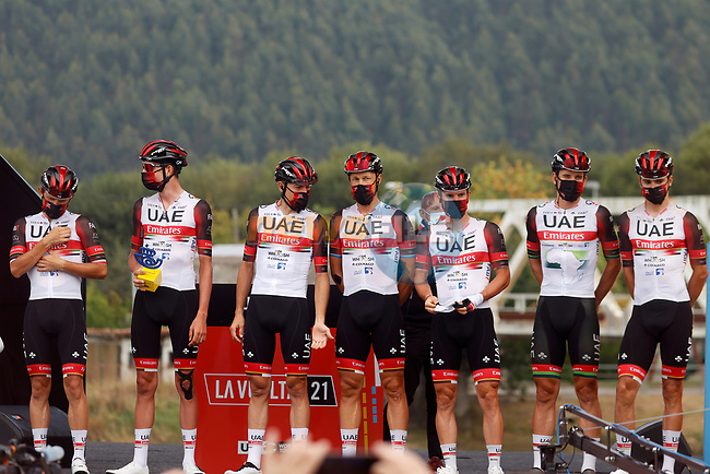 UAE Team Emirates best team from yesterday's stage at sign on before the start of Stage 17 of La Vuelta d'Espana 2021, running 185.8km from Unquera to Lagos de Covadonga, Spain. 1st September 2021.    <br /> Picture: Luis Angel Gomez/Photogomezsport | Cyclefile<br /> <br /> All photos usage must carry mandatory copyright credit (© Cyclefile | Luis Angel Gomez/Photogomezsport)