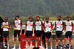 UAE Team Emirates best team from yesterday's stage at sign on before the start of Stage 17 of La Vuelta d'Espana 2021, running 185.8km from Unquera to Lagos de Covadonga, Spain. 1st September 2021.    <br /> Picture: Luis Angel Gomez/Photogomezsport   Cyclefile<br /> <br /> All photos usage must carry mandatory copyright credit (© Cyclefile   Luis Angel Gomez/Photogomezsport)