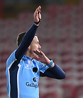 12th February 2021; Kingsholm Stadium, Gloucester, Gloucestershire, England; English Premiership Rugby, Gloucester versus Bristol Bears; Referee Tom Foley signals a penalty to Bristol Bears