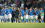 St Johnstone v FC Luzern...24.07.14  Europa League 2nd Round Qualifier<br /> Tommy Wright talks to his players before the penalty shoot out<br /> Picture by Graeme Hart.<br /> Copyright Perthshire Picture Agency<br /> Tel: 01738 623350  Mobile: 07990 594431