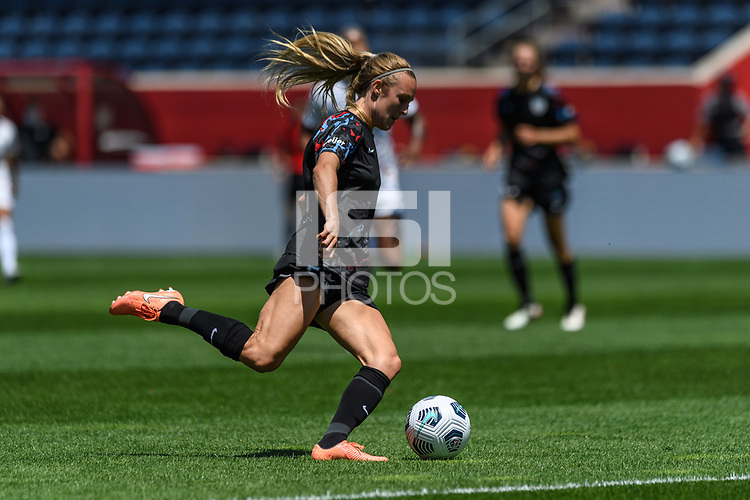 BRIDGEVIEW, IL - JUNE 5: Rachel Hill #5 of the Chicago Red Stars kicks the ball during a game between North Carolina Courage and Chicago Red Stars at SeatGeek Stadium on June 5, 2021 in Bridgeview, Illinois.