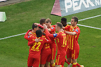celebrate the goal, Torjubel zum 0:1 um Ron Schallenberg (SC Paderborn 07)<br /> <br /> - 08.11.2020: Fussball 2. Bundesliga, Saison 20/21, Spieltag 7, SV Darmstadt 98 - SC Paderborn 07, emonline, emspor, <br /> <br /> Foto: Marc Schueler/Sportpics.de<br /> Nur für journalistische Zwecke. Only for editorial use. (DFL/DFB REGULATIONS PROHIBIT ANY USE OF PHOTOGRAPHS as IMAGE SEQUENCES and/or QUASI-VIDEO)
