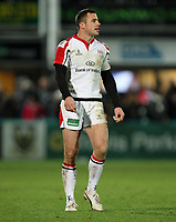 Friday 7th December 2012;  Tommy Bowe in action for Ulster during the Pool 4 round 3 Heineken Cup clash at Franklin's Gardens, Northampton, England. Image credit -: JOHN DICKSON / DICKSONDIGITAL
