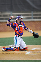 Clemson Tigers catcher Chris Okey (25) throws the ball back to his pitcher during the game against the Wake Forest Demon Deacons at David F. Couch Ballpark on March 12, 2016 in Winston-Salem, North Carolina.  The Tigers defeated the Demon Deacons 6-5.  (Brian Westerholt/Four Seam Images)