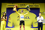 World Champion Julian Alaphilippe (FRA) Deceuninck-Quick Step wins solo Stage 1 and wears the first leaders Yellow Jersey of the 2021 Tour de France, running 197.8km from Brest to Landerneau, France. 26th June 2021.  <br /> Picture: A.S.O./Pauline Ballet | Cyclefile<br /> <br /> All photos usage must carry mandatory copyright credit (© Cyclefile | A.S.O./Pauline Ballet)