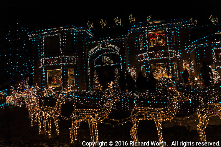 Lights.  Many lights, outline a Christmas display viewed by figures in silhouette.