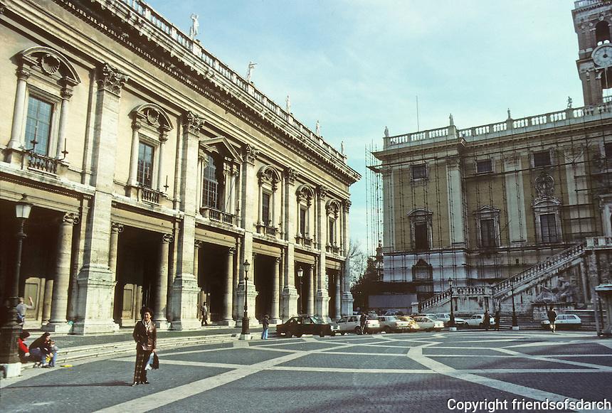 """Italy: Rome--Braccio Nuovo (left building of Campidoglio. The square is a trapezium--forming an """"inverse perspective"""". Photo '83."""